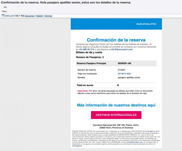 Email de confirmación de la reserva con los billetes de autobus iberocoach