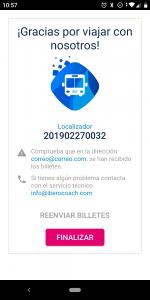 Confirmación de la compra de billetes de autobús con la app iberocoach