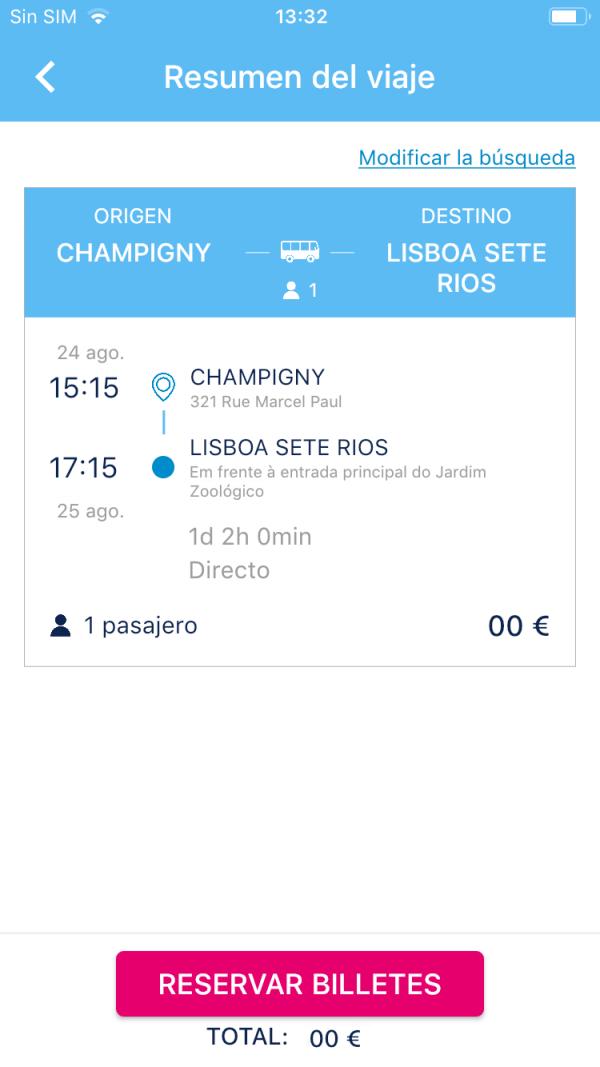 Resumen de billete de autobús iberocoach