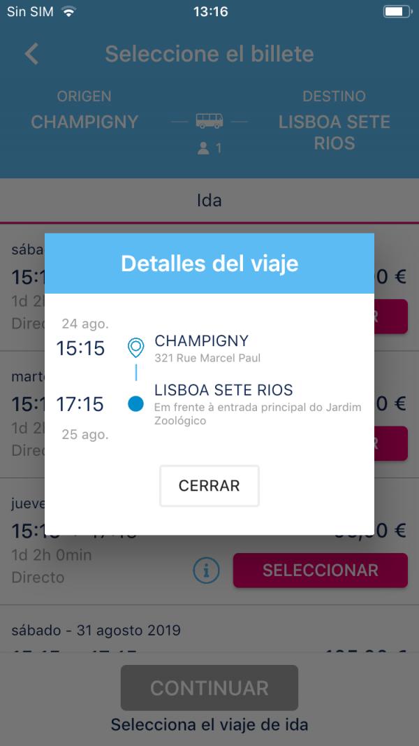 Selecciona el billete y revisa los detalles de Viaje app móvil